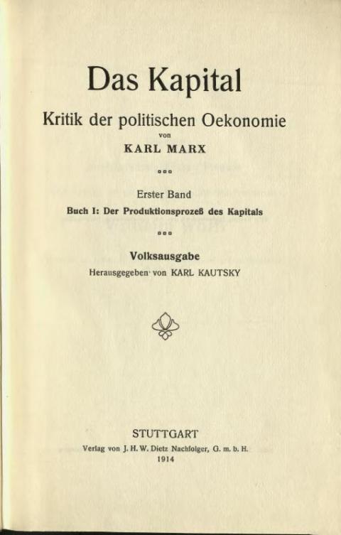 Das Kapital – Vorwort von Karl Kautsky von 1914